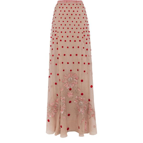 Temperley London Long Josette Skirt found on Polyvore featuring polyvore, fashion, clothing, skirts, bottoms, nude mix, sheer maxi skirt, polka dot maxi skirt, sequin skirt and long floral maxi skirt