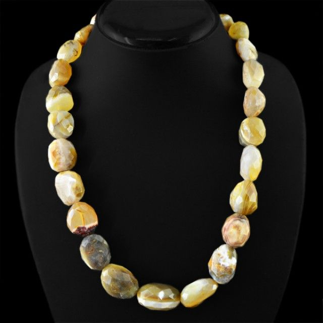Natural 758.00 Cts Agate Faceted Beads Necklace FASHIONABLE BEAD NECKLACE