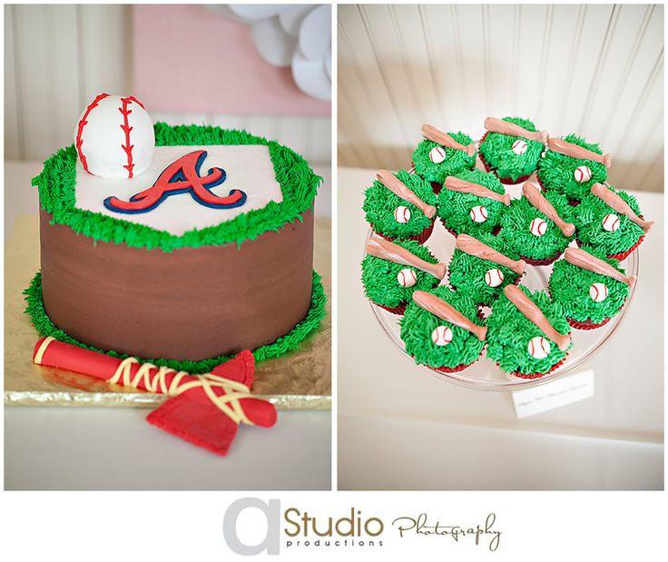 Atlanta Braves themed wedding cake and cupcakes!