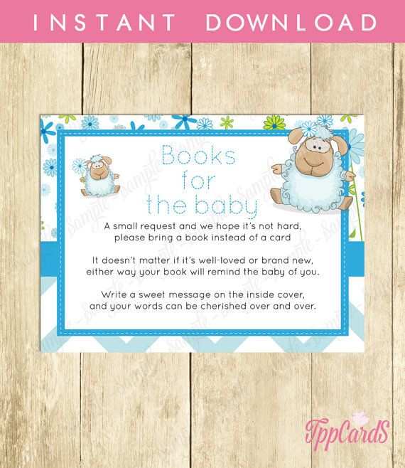 Instant Download Blue Lamb Book Request Blue Brown Lamb Book in Lieu of Card Little Lamb Baby Shower Book Instead of Card by TppCardS #tppcards