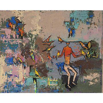 Walter Battiss: Figure with birds