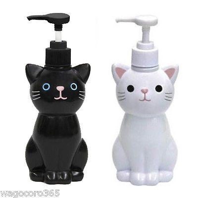 Cat Hand Soap Bottle Pump Dispenser White Black Japanese Goods Cute Kawaii