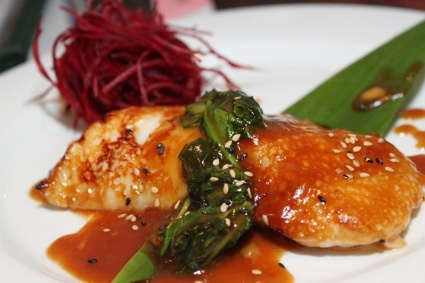Chilean Seabass and Spinach sauteed in Sweet Miso and Teriyaki Sauce