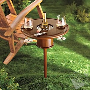 Mahogany Picnic Table with Bottle Cooler at Wine Enthusiast - $79.95