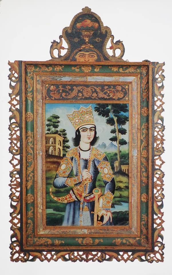 نقاشی پشت شیشه، هنرمند ناشناس، ابتدای قرن 19 میلادی Reverse- Glass Painting Artst unknown Iran, early 19th century 73.6x52.1 cm