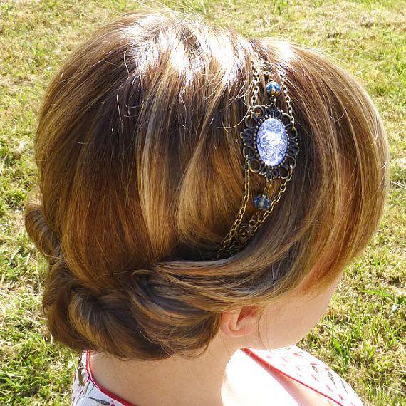 Headband cabochon bleu et blanc style rétro par HeadbandsElodie