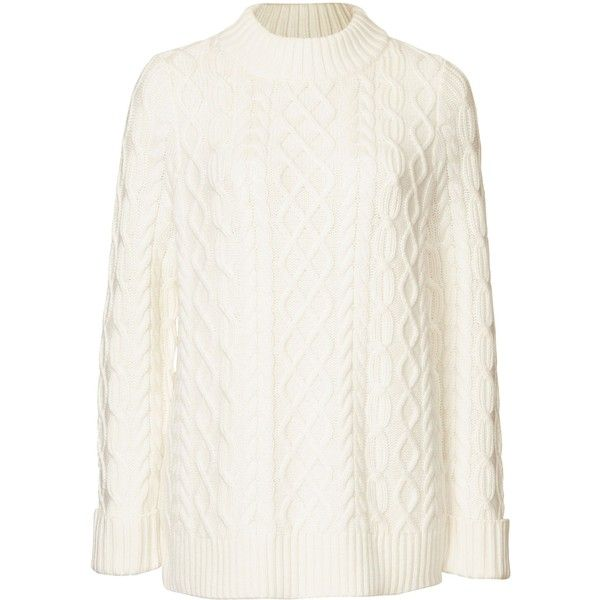 Winser London Wool Cashmere Aran Jumper ($200) ❤ liked on Polyvore featuring tops, sweaters, women knitwear, white ribbed sweater, wool cashmere sweater, knitwear sweater, white top and ribbed cashmere sweater