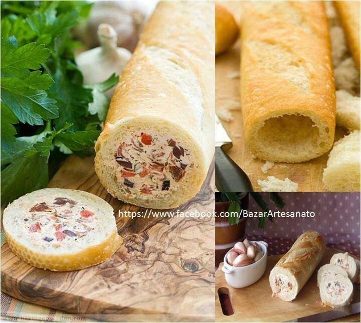 Baguette rellena con queso crema y salame...refri y listo En Cosas creativas para el hogar en fbk