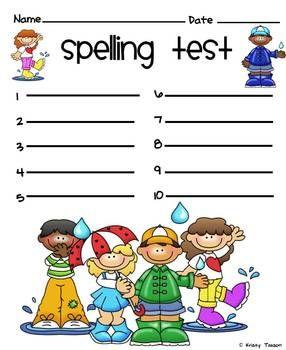 SPELLING TEST TEMPLATES - TeachersPayTeachers.com