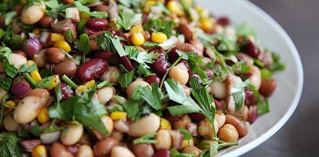 This cholesterol-lowering protein and fibre-packed five bean salad tastes so good, your tummy (as well as your tastebuds) will thank you.