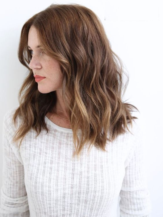 golden brown hair color ideas for medium length hair styles + cuts