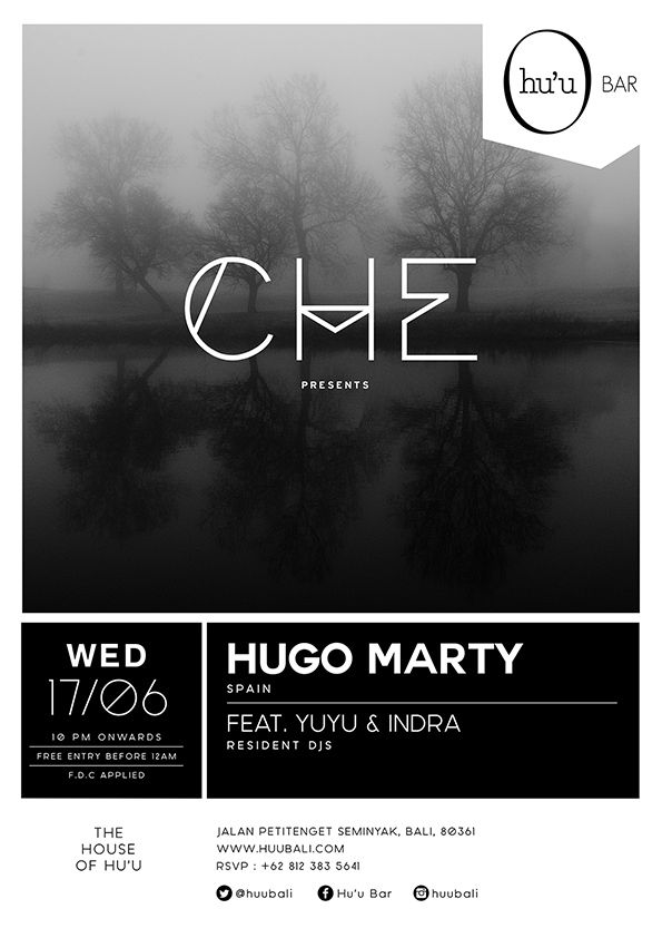 #huubar #che #party #typography #graphicdesign #flyer #hiphop #deephouse