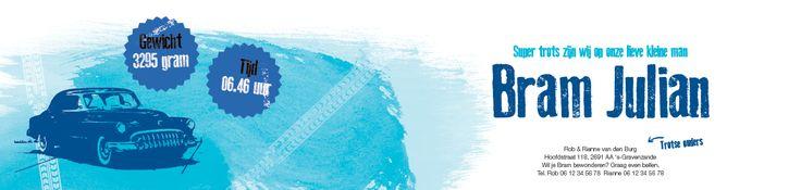 Collectie 2 | Gaafkaartje | Unieke geboortekaartjes | Illustratie | children Illustration | jongen | blauw | car | auto