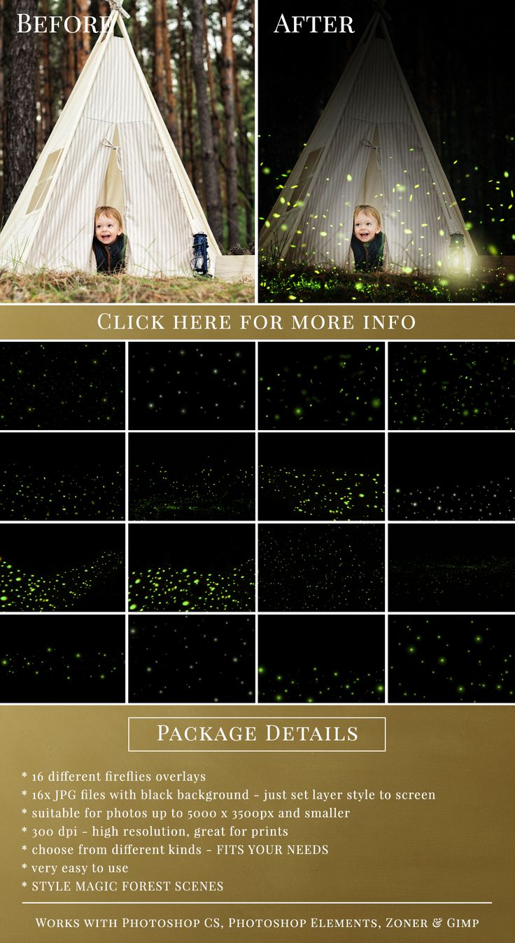 16 different kinds of fireflies overlays from Brown Leopard. Get them all for $15.