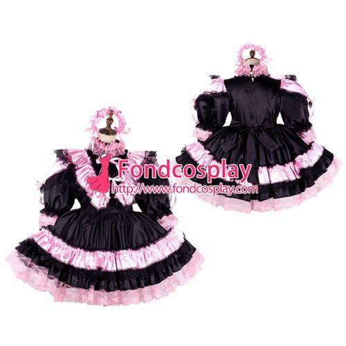 Sissy maid satin dress lockable Uniform cosplay costume Tailor-made[G2134]