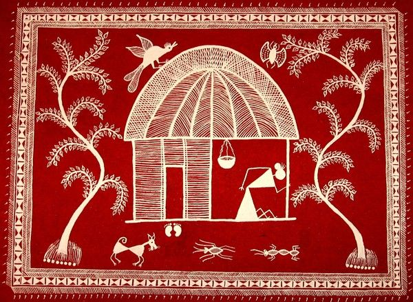 258 best warli art images on pinterest indian paintings tribal hut warli painting of a hut done on handmade paper using poster paint aparna altavistaventures Image collections