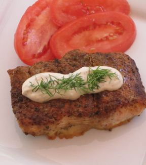 Blackened Salmon with Dill Sauce.  Slow cooker!