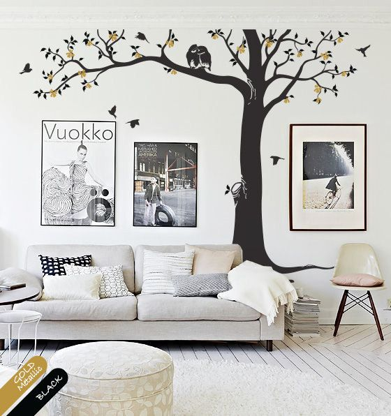 Tree Wall Decal nursery decor tree wall mural decoration kids room decor tree decals with leaves and owls blossoms owl wall sticker KR081 on Etsy, $89.00