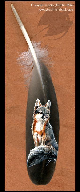 Grey Fox painted feather by ~Nambroth on deviantART