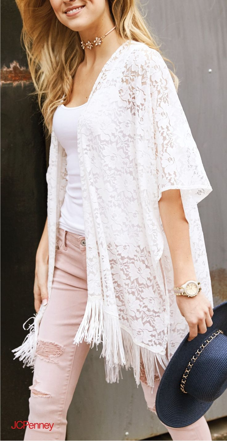 The perfect look for music festival or Saturday stroll. Soft and subtle, blush is effortless for Spring. Two trends in one: romantic white lace and boho tassles paired with ripped blush skinnies and, your out-the-door look is in full bloom. Add a punch of contrast with an indigo straw hat just to make things interesting. Any way you go, you'll crush it in blush.