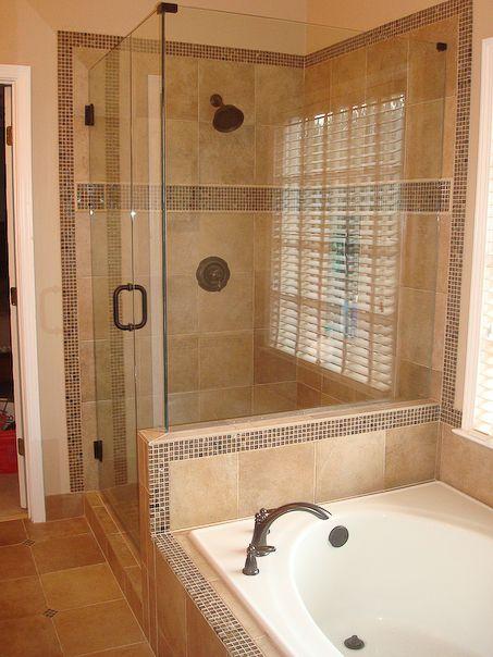 Tiled shower, glass enclose #shower #tiles
