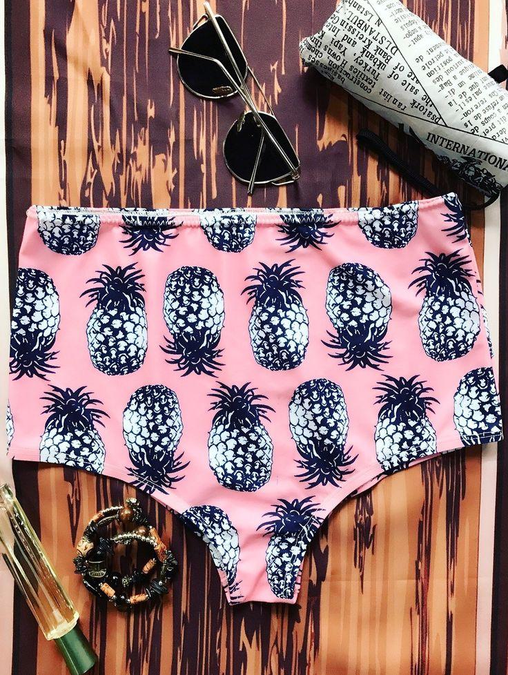 $15.49 Pineapple High Waisted Bikini Bottoms - PINK ONE SIZE