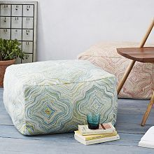 Ottomans, Poufs, Floor Poufs, Upholstered & Modern Ottomans   West Elm; use foam cushions and make these