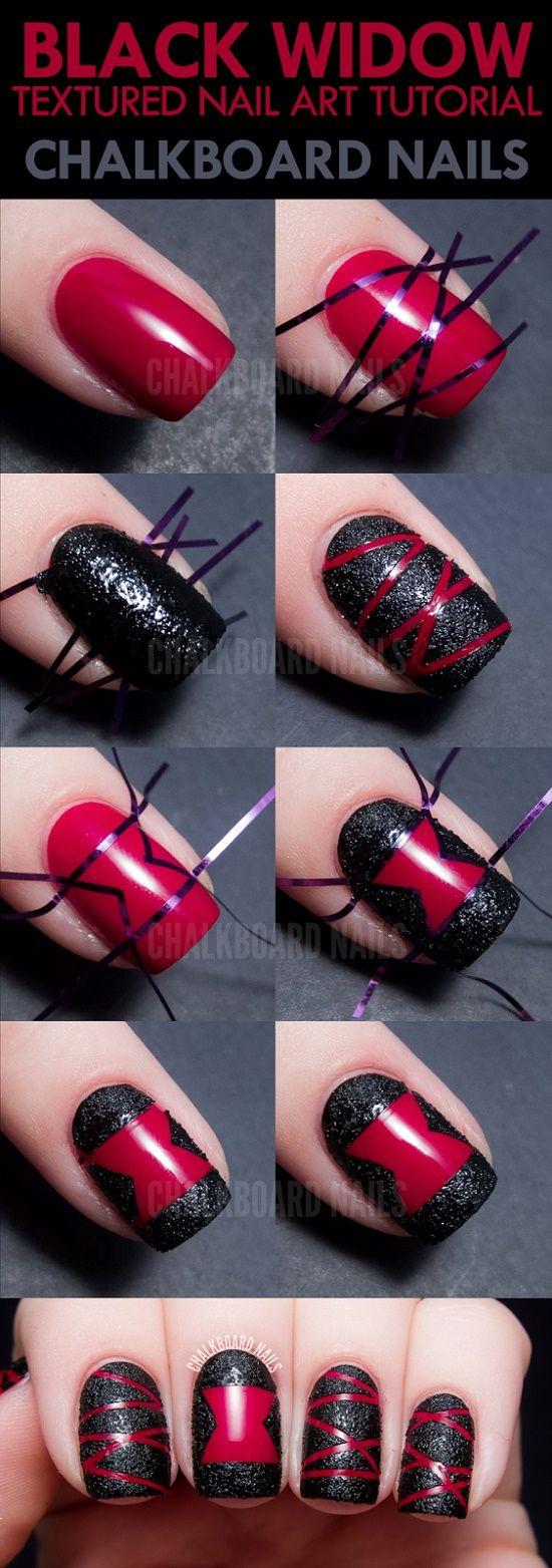 Uñas elegantes con tonos negros y rojos  - http://xn--decorandouas-jhb.com/unas-elegantes-con-tonos-negros-y-rojos/
