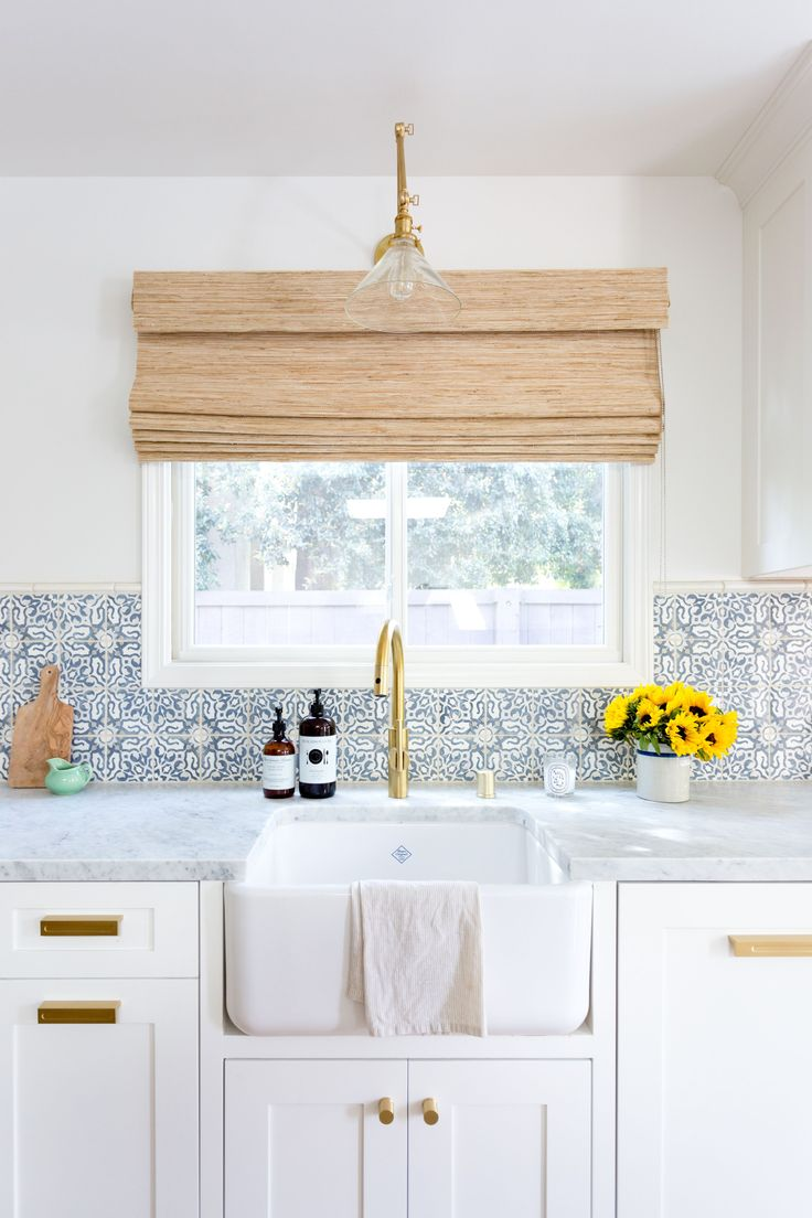 Jennifer Muirhead Interiors, Kitchen Remodel, Morrocan Tile Backsplash, Tabarka, Honed Marble Countertops, Farmhouse sink, Brass faucet  One Peek at This Modern Kitchen and You'll Be Tile Dreaming for a Month