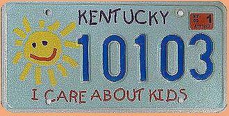 US-Nummernschild Kentucky - I care about Kids - original - Hausnummern und Schilder online kaufen