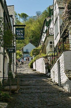 Narrow cobbled streets of Clovelly in Devon, England, I had lunch at the New Inn, lovely!