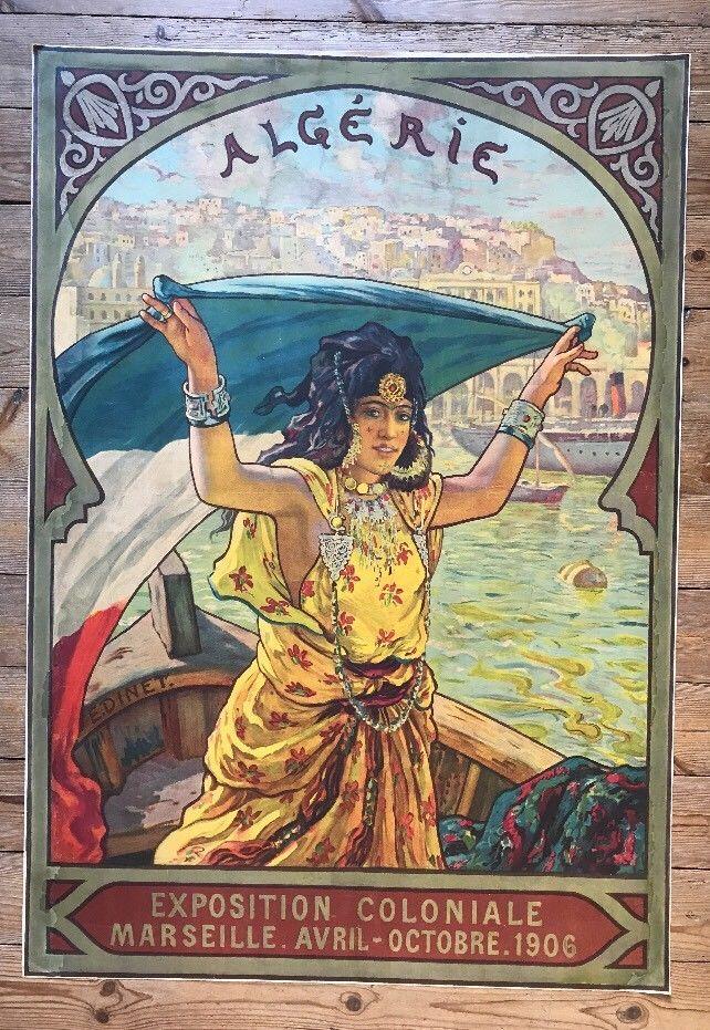 Affiche Algérie Exposition Coloniale Marseille 1906 DINET