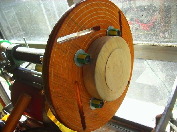 Wooden Lathe Faceplate by rimar2000 -- Homemade wooden lathe faceplate constructed from phenolic plywood, threaded rod, nuts, bolts, and washers. Jaws are mounted in tangential slots. http://www.homemadetools.net/homemade-wooden-lathe-faceplate