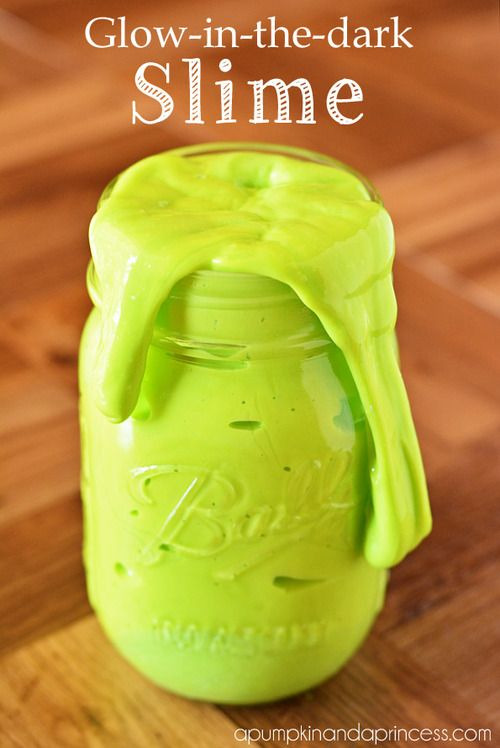 Eeek! Glow in the dark slime. This stuff looks so nasty but every kid I know would flip. Super easy recipe (uses Borax) from A Pumpkin and a Princess.