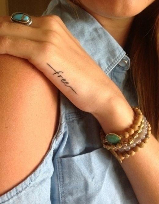 """Free"" - cute small hand tattoo"