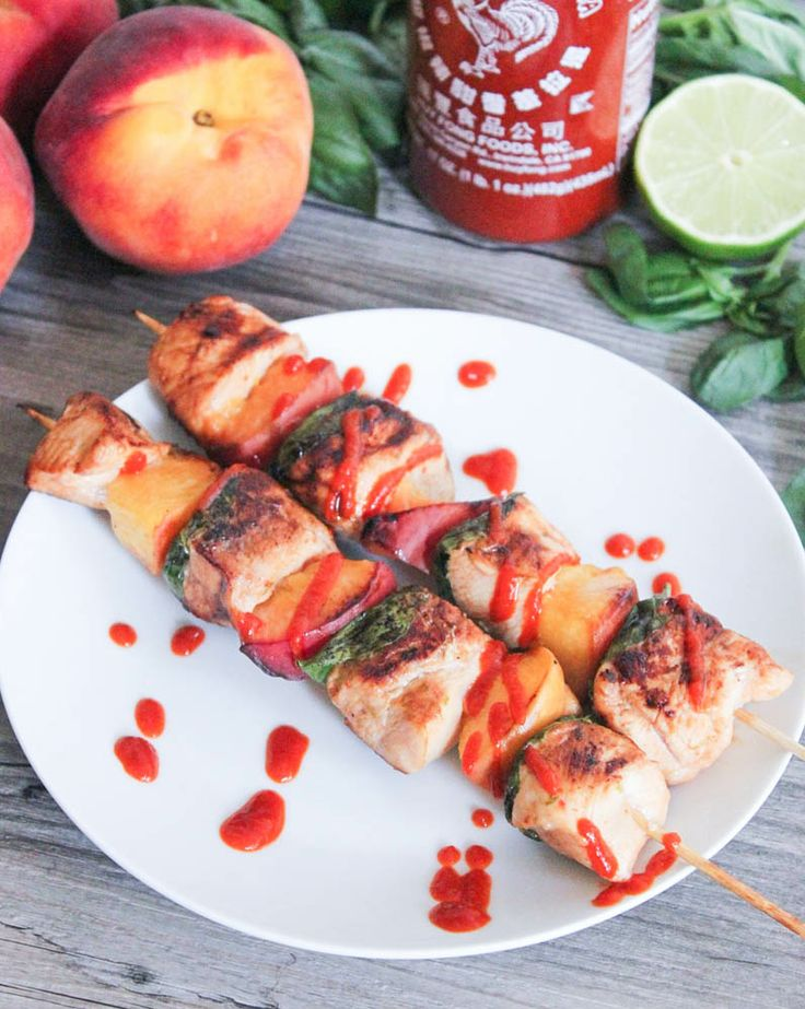 Glazed Chicken Skewers with Peaches and Basil | Recipe | Skewers ...