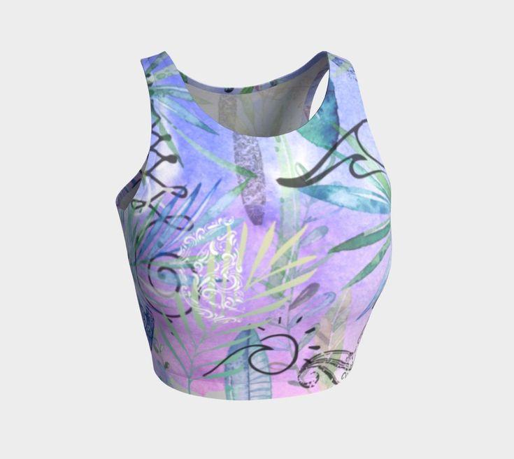 Pink Tropical yoga/swim crop top. For more beautiful, eco, handmade yoga and swim leggings, crop tops, mini shorts, kimonos, beanies, and more, go to www.sleepysweats.com.  #leggings #highquality #eco #organic #performance #yoga #surf #surfwear #swim #summer #swimwear #trend #scarves #scarf #beanie #headband #buff #fashion #2018 #kimono #robe #peignoir #bags #totes #handbag #neoprene #gift #idea #lady #woman #mom #babyshower #pregnancy #beautiful #sweatshopfree #fairtrade #fairwages…