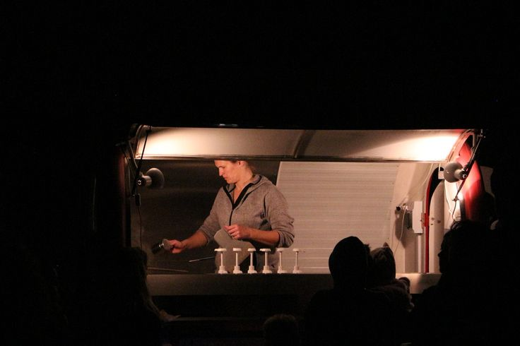 Hot chocolate on a cold night. Food truck worker at Stellar, Smales Farm, Auckland, 2016. Image: Su Leslie, 2016. Edited with Snapseed.