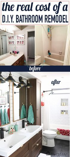 I've always wondered how much a real DIY bathroom renovation costs.  This is the first post I have seen that gives actual, hard numbers.  And WOW, WOW, WOW! This DIY bathroom remodel is by far one of the best I have seen, and they REALLY did all the work themselves! I love the floor to ceiling subway tile, the black slate tile floor and the penny tile accents. And that floating vanity is amazing.