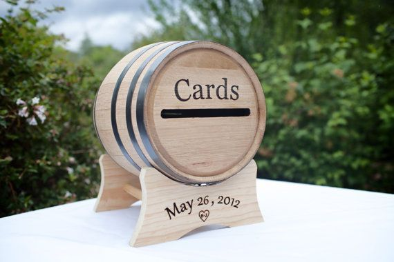 wine barrel wedding card holder