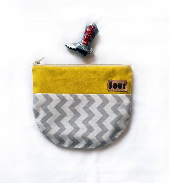 Otherwise Wild// Yellow and Gray Chevron Zipper Pouch