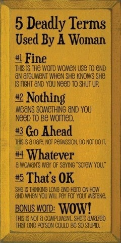 Lol!! When a woman says this she really means this.....