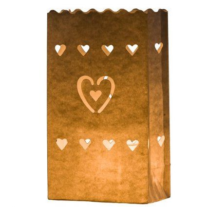 7 STYLES AVAILABLE HERE - 10 x White Craft Paper Tea Light Holder Lantern Lamp Candle Bags - Decoration for Parties, Weddings, Birthdays by Kurtzy TM (Hearts)