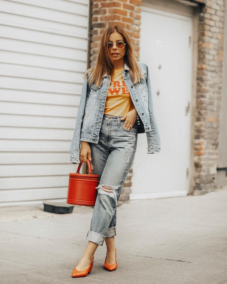 denim on denim, pearl embellishments, pearl details, pearl jacket, pearl denim, girl power, graphic t-shirt, girl power t-shirt, vintage louis vuitton, louis vuitton, bucket bag, red bag, stilettobeatss