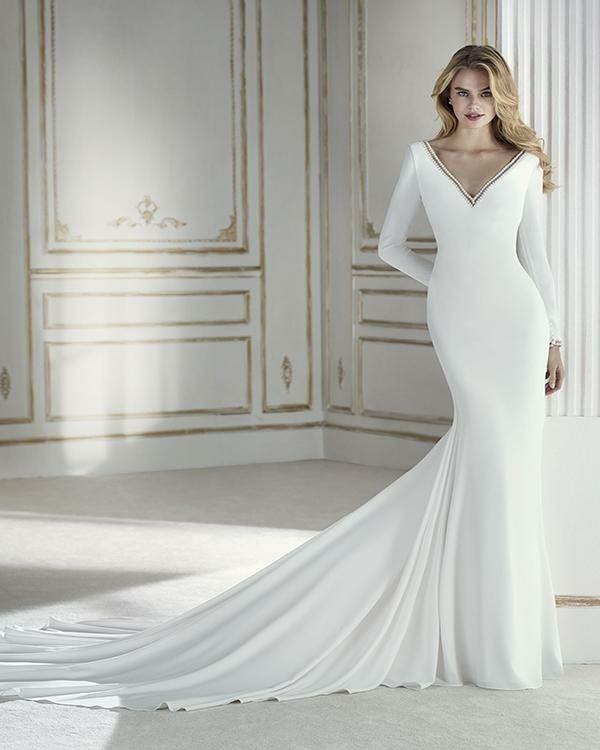 Simple Long Sleeve Wedding Dresses V Neck Silk Satin Mermaid Wedding Gown With Plunge V Back Wedding Dresses Wedding Dress Long Sleeve Wedding Dress Sleeves