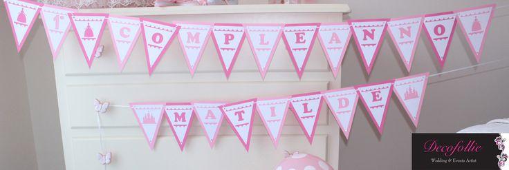 Striscione o banner personalizzato con nome festeggiata primo compleanno principessa
