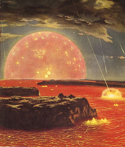 I recognise this wonderful old illustration from a late 1960's 'Look & Learn' annual. It's depicting a time long before even the Pre Cambrian when the early Earth & Moon had recently formed & the 'Late Heavy Bombardment' was under way.