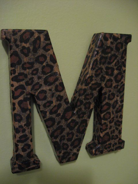 Mod Podge & tissue paper: Monograms Letters, Gifts Tissue, Leopards Prints Crafts, Leopards Prints Rooms, Big Letters, Mod Podge, Paper Personalized, Animal Prints, Tissue Paper