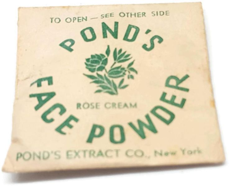Vintage Pond's Face Powder Rose Cream Sample Envelope - 2 Inches Square w Scoops #PondsExtractCo