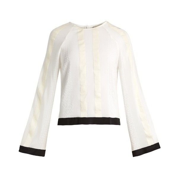 Melissa striped raw-silk and chiffon blouse Zeus Dione... ($350) ❤ liked on Polyvore featuring tops, blouses, ivory, ivory chiffon blouse, white chiffon top, striped silk blouse, white chiffon blouse and white silk top